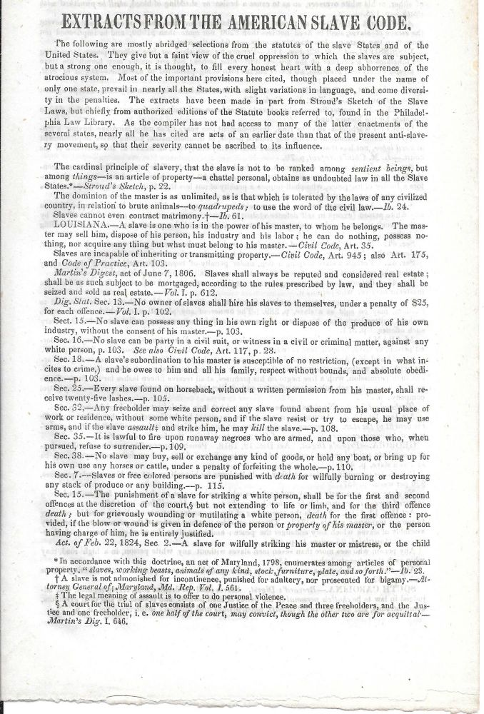 EXTRACTS FROM THE AMERICAN SLAVE CODE.