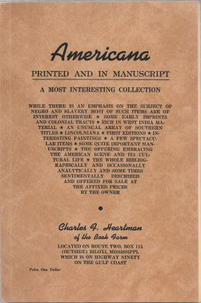AMERICANA, PRINTED AND IN MANUSCRIPT