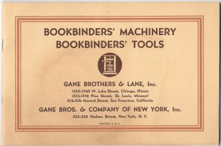 BOOKBINDERS' MACHINERY. BOOKBINDERS' TOOLS